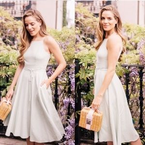 Gal Meets Glam Caroline Linen Fit & Flare Dress